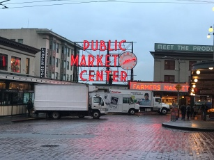 Early morning deliveries at Seattle's Pike Place Market (main entrance(