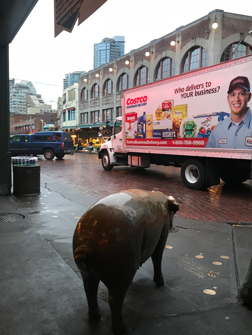 Rachel the Piggy Bank watches the delivery trucks come and go in the early morning hours.