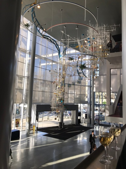 The lobby and eclectic chandelier of McCaw Hall
