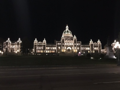 The BC Parliament at night