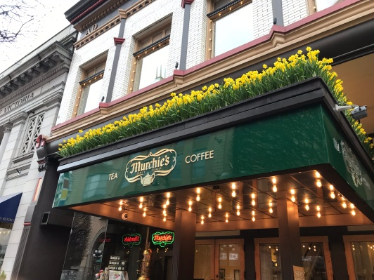Murchie's facade, sporting daffodils